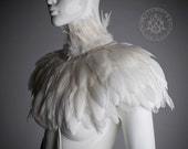 Ivory white Feather high collar capelet // Sharp shoulders wrap shrug dripping with white feathers