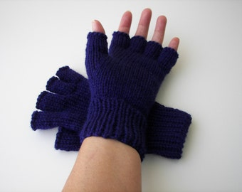Hand Knit Half Finger Pure WOOL Gloves in Royal BLUE