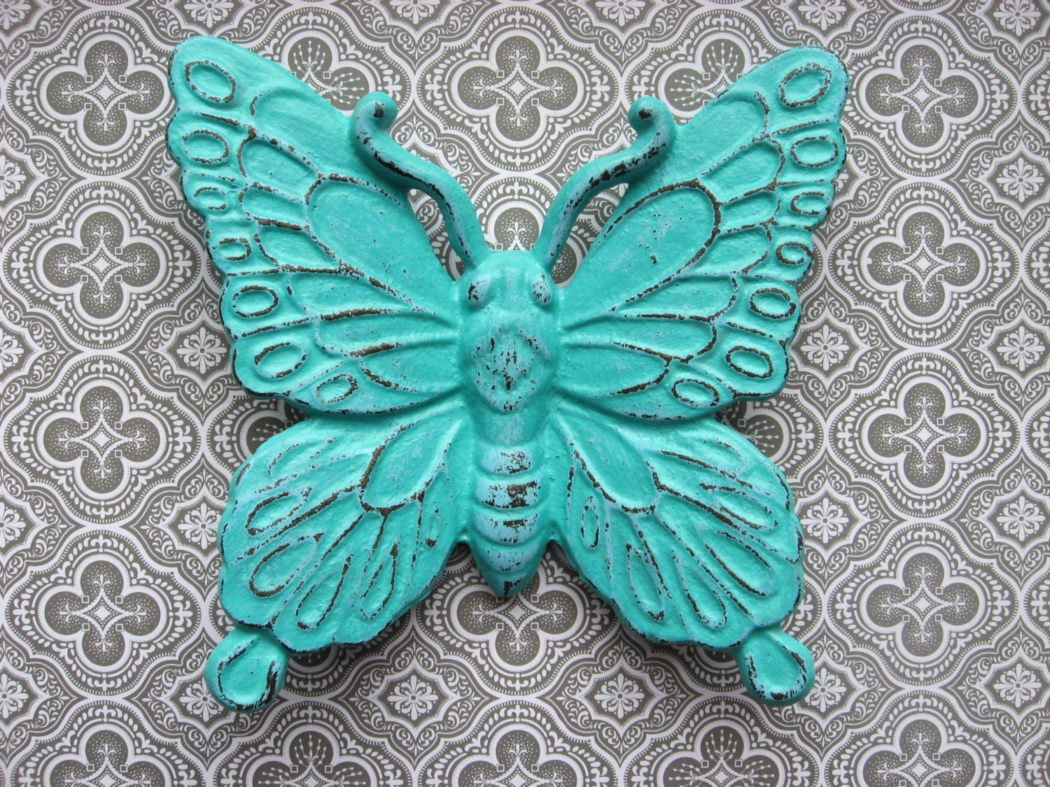 Blue butterfly wall decor : Butterfly decor wall hanging aqua blue by theturquoisecottage