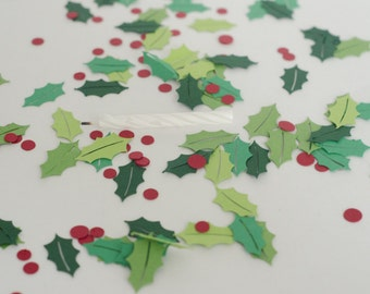 Holly Leaves and Berries Christmas Confetti