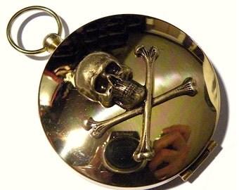 Steampunk Compass Skull Skeleton and Golden Brass Pocket Compass Necklace Steam punk