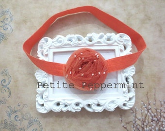 Orange baby headband, baby hairbow, baby flower headband, baby head band, toddler headband, infant headband