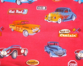 CLEARANCE : Vintage look smiling Cars hot pink David Textiles fabrics FQ or more