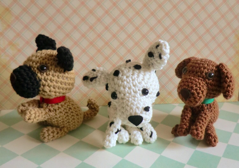 Amigurumi Flowers Free Patterns : Amigurumi dogs PDF pattern for pug dalmatian and brown