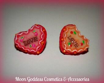 Love Heart Cake Stud Earrings