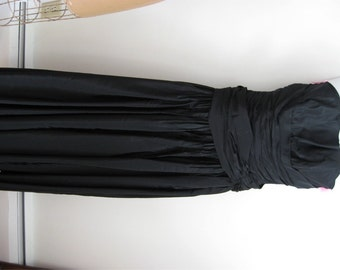 Evening Gown / Vintage Prom Bustier Top / PROM / Black Evening Gown, Taffeta / Hollywood Glam / Red Carpet Look / Vintage Ball gown