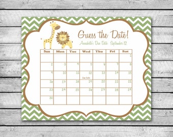 Guess the Date | Safari Animals with Chevron | Baby Shower Game | Due Date Calendar | Digital File