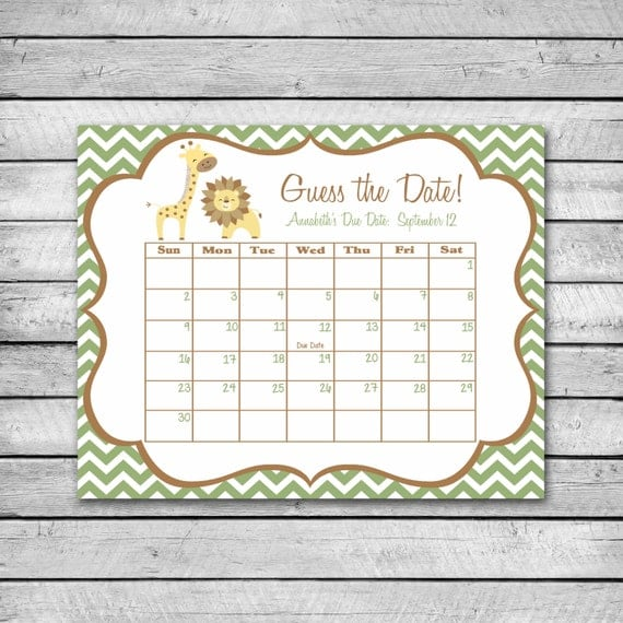 Guess the Date | Safari Animals with Chevron | Baby Shower Game | Due ...