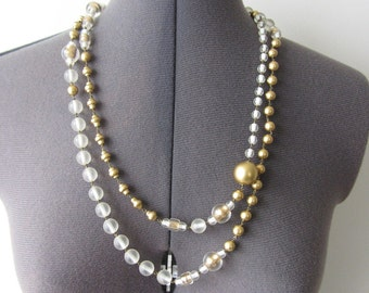 Vintage Gold and White Beaded Necklace by Joan & David