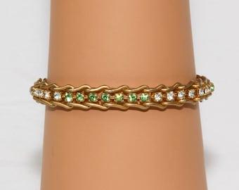 Gold link Bracelet/Light Green / Crystal Cubic Zirconia, Prong Set into Gold U-Links, Lovely light green, Spring, Tennis bracelet, Flawless