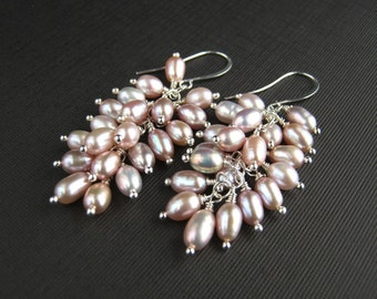 Lustrous Mauve Freshwater Pearl Cluster Earrings Mauve Pearl Wedding Earrings Pearl Waterfall Earrings