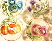 Hand Painted Margarita Glasses - Margarita Flower Fields Set of 4