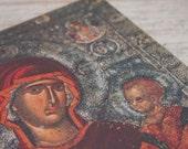 Vintage Catholic Art, German  Religious  Decor, Jesus Mary Print onWood, Blessed Mother  Muttergotte, Psychosotiria, Old World Decor  Icon