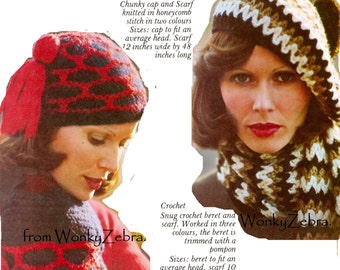 Retro 70s hat and scarf, Knit and Crochet Pattern PDF 659 from WonkyZebra
