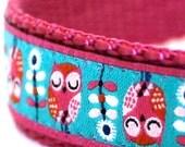 Sleepy Owls Dog Collar, Adjustable Ribbon Pet Collar, Flowers, Woodland Pet Collar