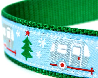 Christmas Campers Dog Collar, 1 inch width, Big Dog Collar, Holiday Pet Collar, Adjustable
