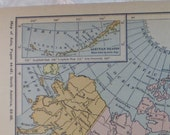 Dominion of Canada w/inset of Aleutian Islands, Greenland, Alaska, Iceland- 1929 Map - lovely pastel colors