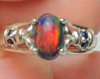 Sz 7, Rare~Black Welo Opal Ring,Sterling Silver Ring,Ethiopian Opal Ring,Mult Color Fire,Natural Gemstone,Opal Jewelry,Mystical Stone, OOAK