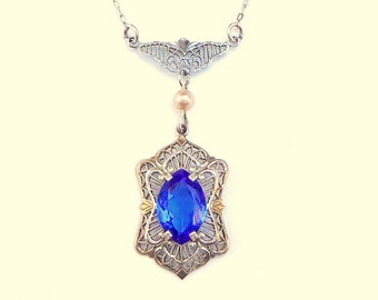 SALE,Vintage Necklace,Sterling Silver,Art Nouveau to Art Deco,Circa 1920s,Neo Victorian Style,Silver Filigree Setting,Sapphire Blue Stone