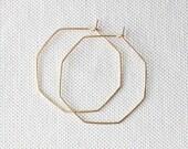 """Octagon Gold hoop earrings, simple hoops, 1.5"""" hoop earrings, geometric"""