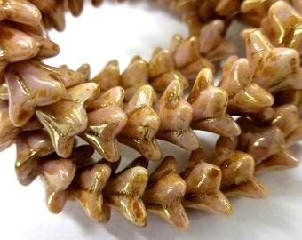 NEW COLOR LOT 50 Czech Glass Flowers Beads in Opaque Rose/Gold Topaz Luster Star   5.5x9mm Size