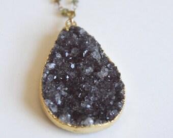 Dark Amethyst Druzy and Tourmaline Gold Vermeil Necklace