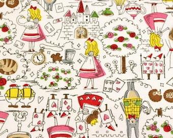 Fancy Alice Story  Alice in Wonderland   Lolita Japanese Fabric  Oxford  White 50cm 19 length
