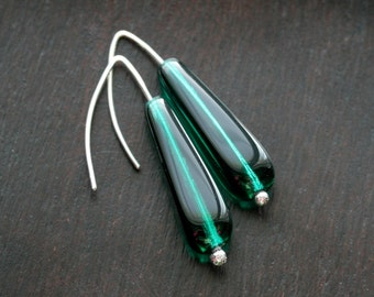Emerald green earrings, Czech glass, sterling silver, simple, green dangle earrings, drop, modern, Mimi Michele Jewelry