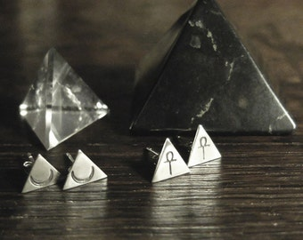 Pyramid ear-posts. Bespoke, custom (sterling silver, your choice of stamp - ankh, moon, arrow)
