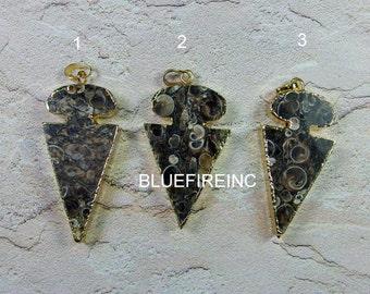 24 kt. Gold plated Edge Natrual Fossial Jasper Arrow in Brown Color stone Jasper