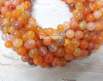 48 pcs round smooth Natural Color 8mm Orange Botswana Agate