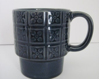 Retro STACKING COFFEE MUG - Blue Flowers Ceramic - Japan
