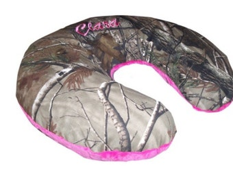 Boppy Pillow Cover, Nursing Pillow Cover- Camo & Hot Pink