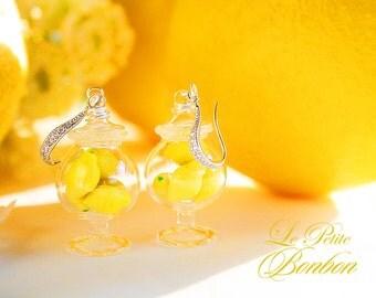 Lemon in apothecary jar earrings
