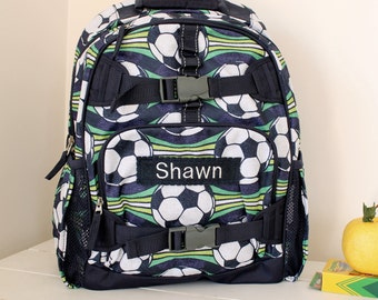 Large Backpack With Monogram (Large Size) Pottery Barn -- Blue Soccer Print