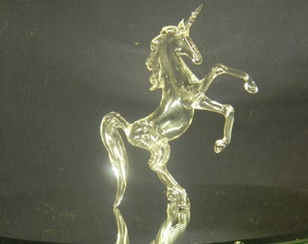 Rearing glass unicorn
