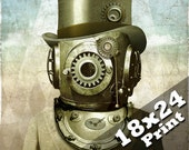 Industrial decor steampunk clock art old antique photo | Deep sea diver steam punk art nautical decor scuba diving oddities 18x24 print