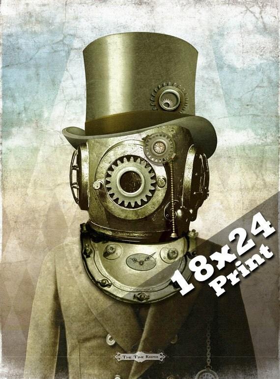 Industrial Decor Steampunk Clock Art Old Antique Photo Deep