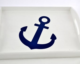 Navy Anchor Wooden Serving Tray with handles, coffee tray, breakfast tray