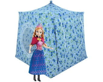 Toy Pop Up Tent, Sleeping Bags, light blue, floral print fabric for dolls, stuffed animals