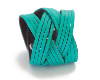 Caribbean Green Leather Cuff, Woven Leather Cuff Bracelet  - the Jazz
