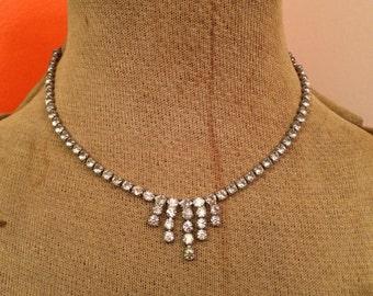 Vintage crystal rhinestone choker necklace
