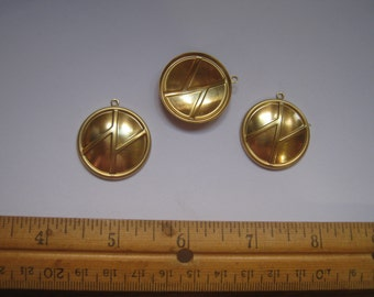 12 gold brass  convex abstract design  DROPS as charms for crafts or jewelry  vb10