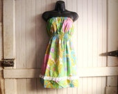 strapless dress // upcycled vintage 1970s retro fabric  // womens size small, medium