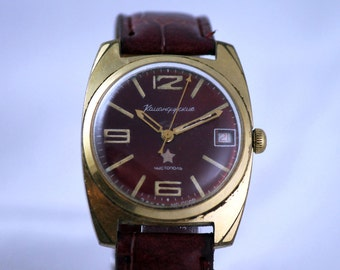VOSTOK(Wostok) KOMANDIRSKIE Rare GOLD Plated Au Chistopol Military SERViCED watch made in Ussr