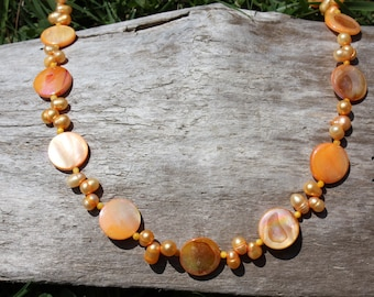 Orange Mother-of-Pearl Necklace