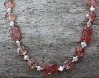 Rose Quartz & Freshwater Pearls Necklace