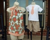 Matching Mother Top (XS-M) and Son Tie Applique Shirt (0 -7) in Amy Butler Lotus