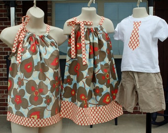 ONE LEFT -Matching Family Ensemble: Mother Top (XS-M), Girl Dress and Boy Tie Shirt in Amy Butler Lotus
