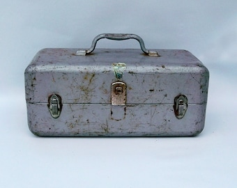 "Mid Century My Buddy Metal Tackle Box ""Nicely Distressed"""